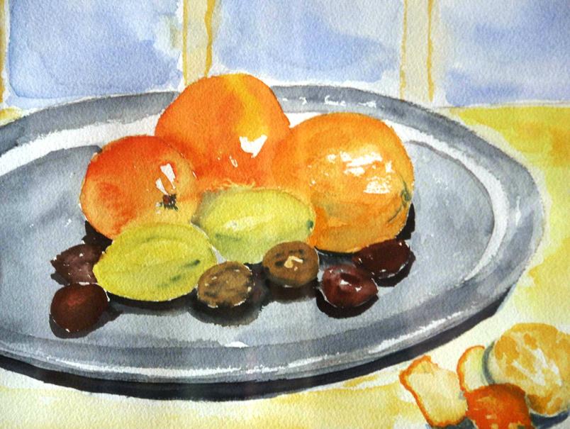orangen auf zinnteller